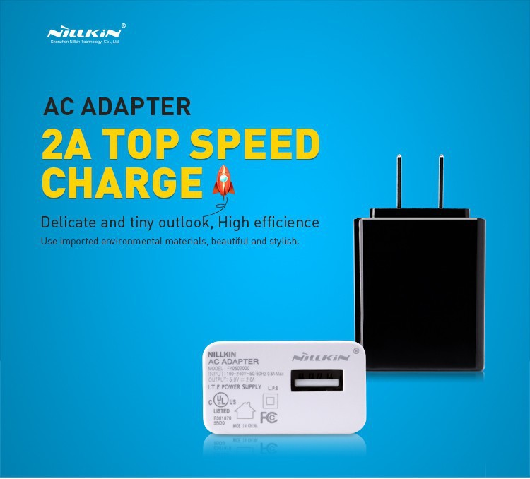 5pcs/lot 2A Top Speed Charger NILLKIN AC 2A US USA Standard USB Plug Power Wall Charger Adapter For Cell Phone USB Charger
