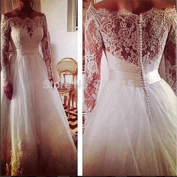 A-line Long Sleeves Plus Size Tulle Skirt Vintage Lace Wedding Dress 2015 Vintage Bridal Gowns Simple White Real Pictures(China (Mainland))