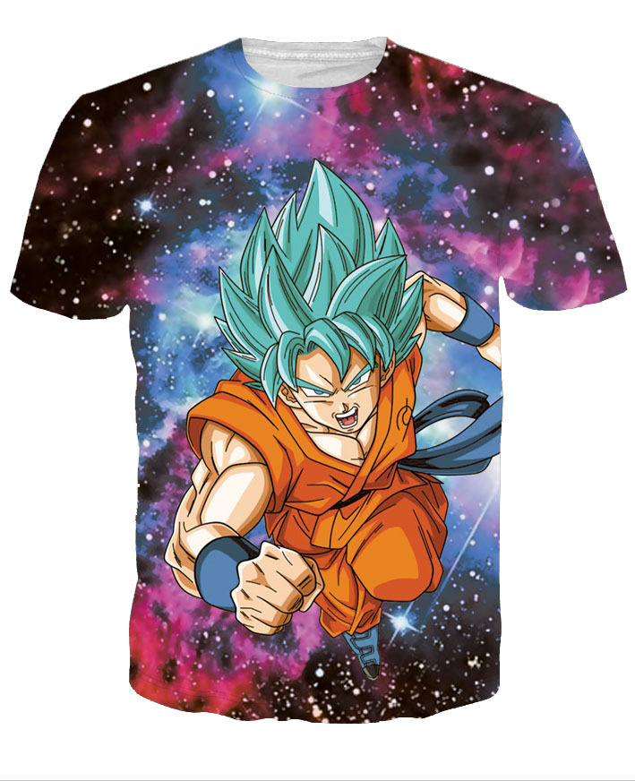 Super Saiyan God Goku Blue Hair 3D Print T shirt Dragon Ball Super Manga Casual Summer