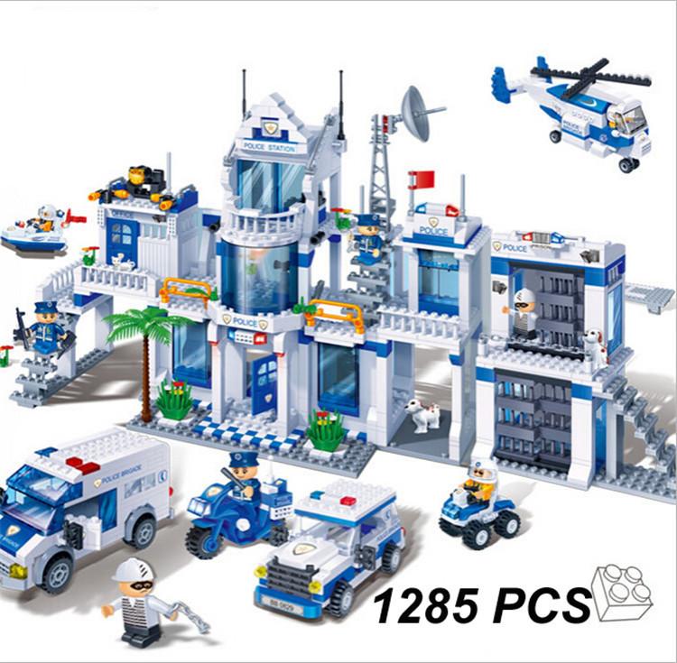 Фотография New  banbao 8353 Plastic ABS building blocks Police office model enlighten bricks Toys for children 1285 Pcs/set