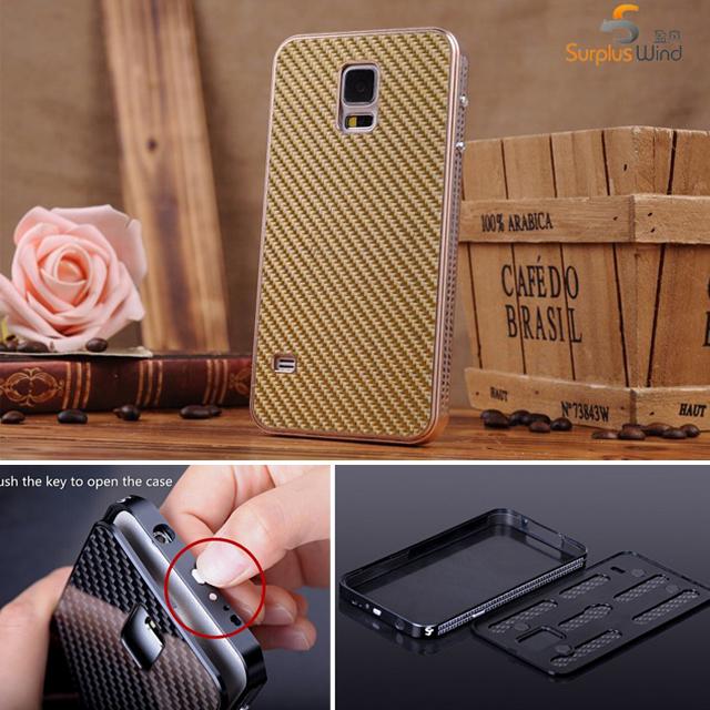Metal Aluminum Case For Samsung S5 Carbon Fiber Element Cover Case For Samsung Galaxy S5 i9600 Original Phone Bags Cases Housing(China (Mainland))