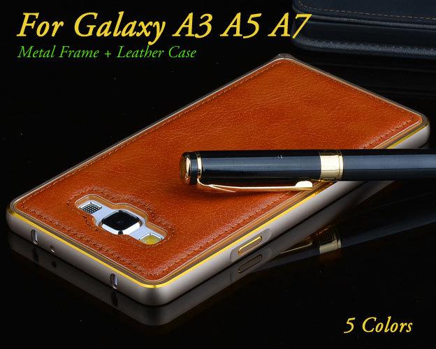 Гаджет  Luxury Electric Plating Aluminum Metal Frame + PU Leather Back Cover Case for Samsung galaxy A3 A5 A7 Acrylic Back Case 5 Colors None Телефоны и Телекоммуникации