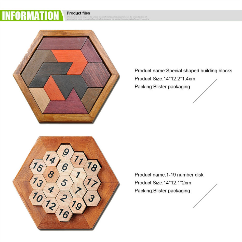 7 Sets/lots Children IQ Brain Teaser Hexagonal Wooden 3D Puzzles for Kids Assembled Jigsaw Educational Toys Gifts for New Year