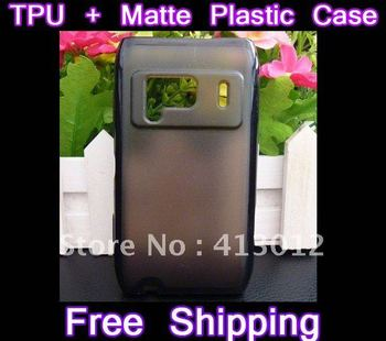 10PCS/lot Hybrid Dual Color Hard Plastic Matte TPU Gel Clear Case Cover Bumper For Nokia NK N8 Free Shipping