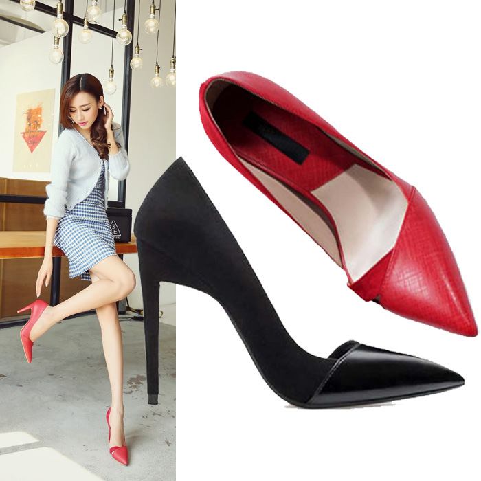 In the spring of 2015 new single high heels with a fine leather fashion shoes female