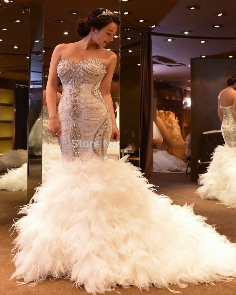 Роскошный Кристалл Бисероплетение Русалка Свадебные Платья 2016 Модные Vestido Де Noiva Тюль Перья Высокое Качество Китай Свадебные Платья