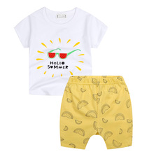 Hello Summer Baby Boys font b Girls b font Set Suit White Cotton Watermelon T shirt