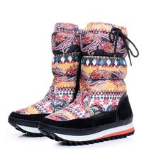 Moda oxford tela impermeable invierno de las mujeres de mitad de la pantorrilla botas de nieve femeninos planas de los talones botas de invierno de nieve caliente zapatos de envío gratis(China (Mainland))