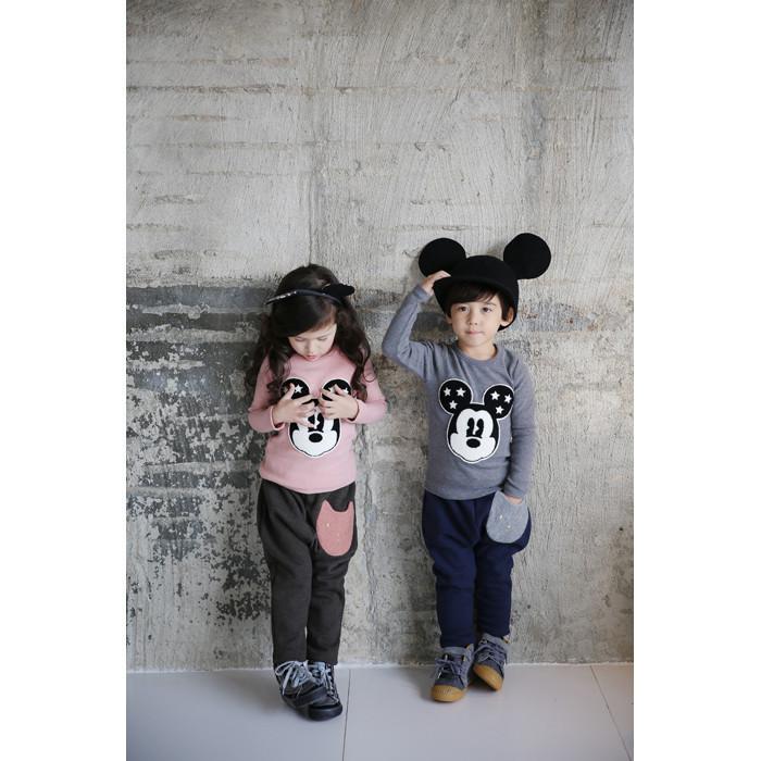 Девочки мальчики одежда комплект минни микки 2015 весной корейских детская одежда хлопка свободного покроя спортивные костюмы горячая распродажа