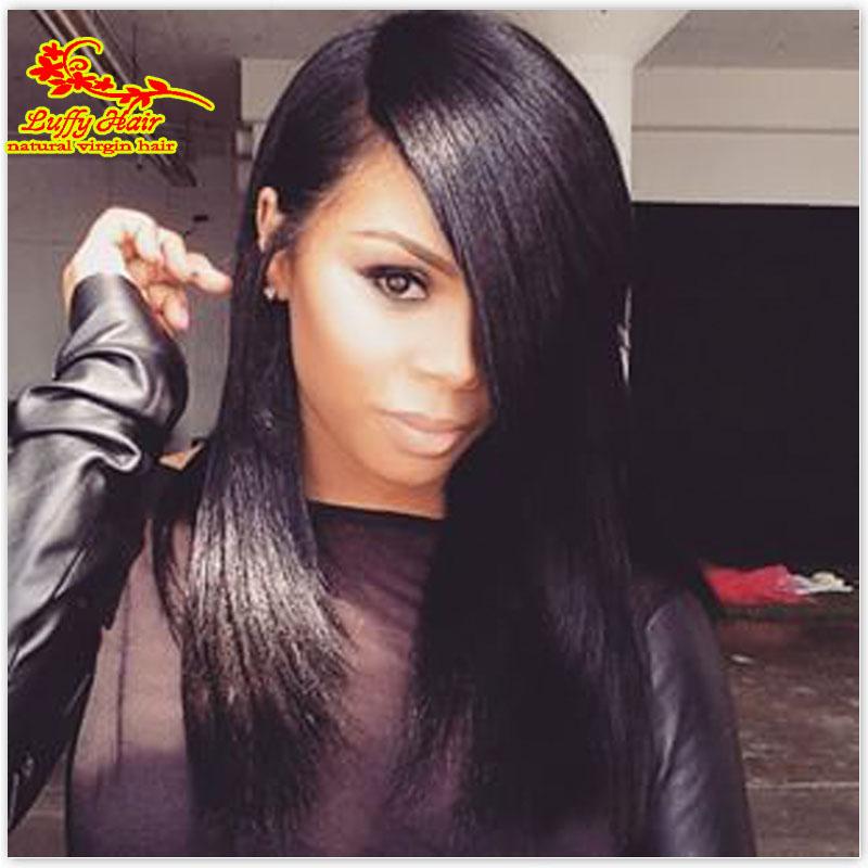 Grade 8A Light Italian Yaki Glueless Silk Top Full Lace Wig Brazilian Virgin Full Lace Human Hair Wigs with Bnags Black Women(China (Mainland))