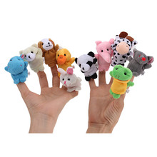 1 Set of 10 Zoo Farm Animal Finger Puppets Plush Cloth Toys for Bed Story Telling(China (Mainland))