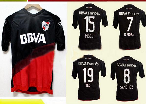 Top tailandesa 2016 River Plate camisa de futebol River Plate camisa de futebol 15 16 River black shirts(China (Mainland))
