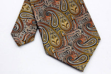 NT0283 Gray Orange Paisley Man s Classic Business Wedding Party Tie Fashion Luxury Jacquard Woven Silk
