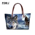 FORUDESIGNS Women Shoulder Bags Moon Light Wolf Dog Casual Women s Handbags Designer Famous Brands Ladies