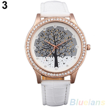 Women Tree Dial Rhinestone Inlaid Golden Tone Case Faux Leather Band Wrist Watch