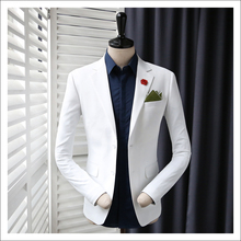 2016 l'arrivée de nouveaux printemps mâle mince veste de costume noir blanc linge casual haute qualité mode formelle blazer taille S M L XL XXL(China (Mainland))