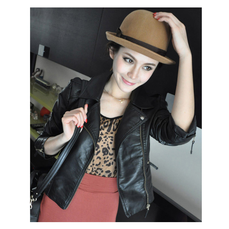 Autumn Fashion Solid Long Sleeve Leather Jacket Women Coat(China (Mainland))