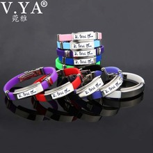 9 Color Rubber ID Bracelet Customized Logo Engraving Stainless Steel Bracelets for Lover's Men Women Mother Father Gift 03(China (Mainland))