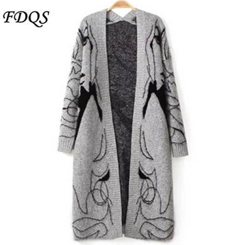 2015 New Autumn Winter Ladies Blend Knitted Cardigans Girl Printed Elegant Jumper Sweater Thicken Long Knitwear Coat(China (Mainland))