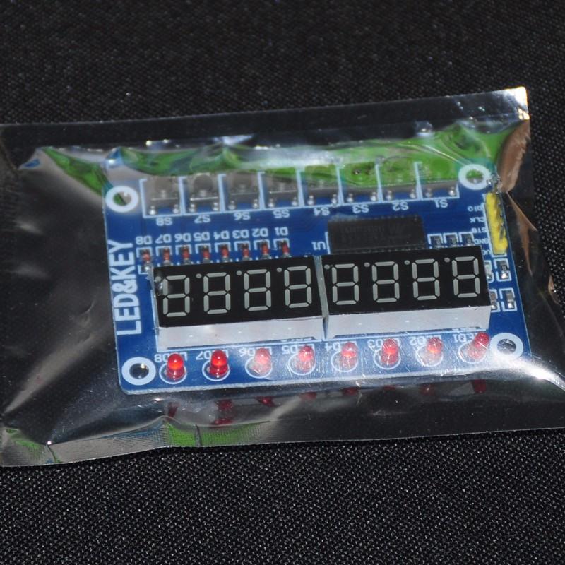 TM1638 LED Display 8-Bit Digital Tube  Module For Arduino AYR 7 Segment 8 Bits 0.36Inch RED TM1638 KEY LED Display Board Panel