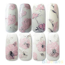 3D Nail Stickers Embossed Pink Flowers Design Nail Art Decal Tips Stickers Sheet Manicure  1OU1(China (Mainland))