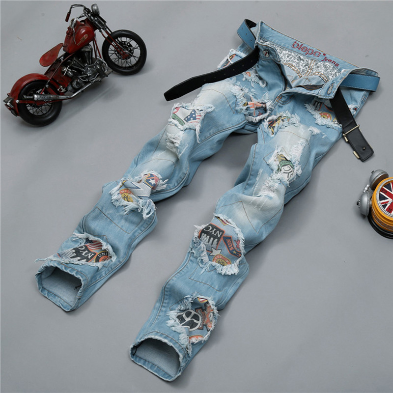 2016 Italy famous brand name Straight Trousers 100% Cotton Casual Denim Jeans Men small feet straight denim micro-bomb holes(China (Mainland))