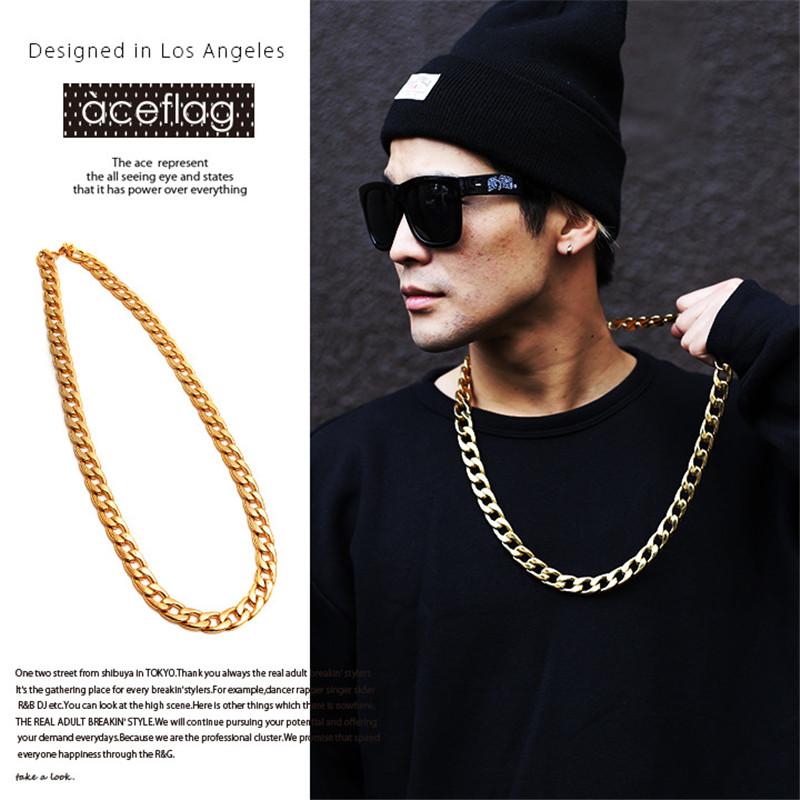 JS Women Hip Hop Gold Rapper Chain Neclace Men 18K Gold Plated Rapper Chain Necklace Bling Bling Jewelry Accessories HN058(China (Mainland))