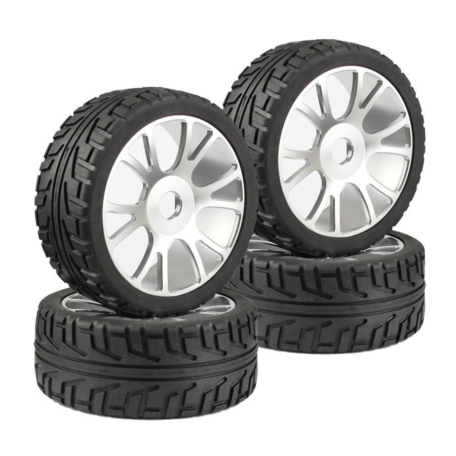 4PCS RC 1:8 1/8 OFF-Road Car Buggy Rubber rubber Tyre Tires & Metal aluminum Wheel Rim(China (Mainland))