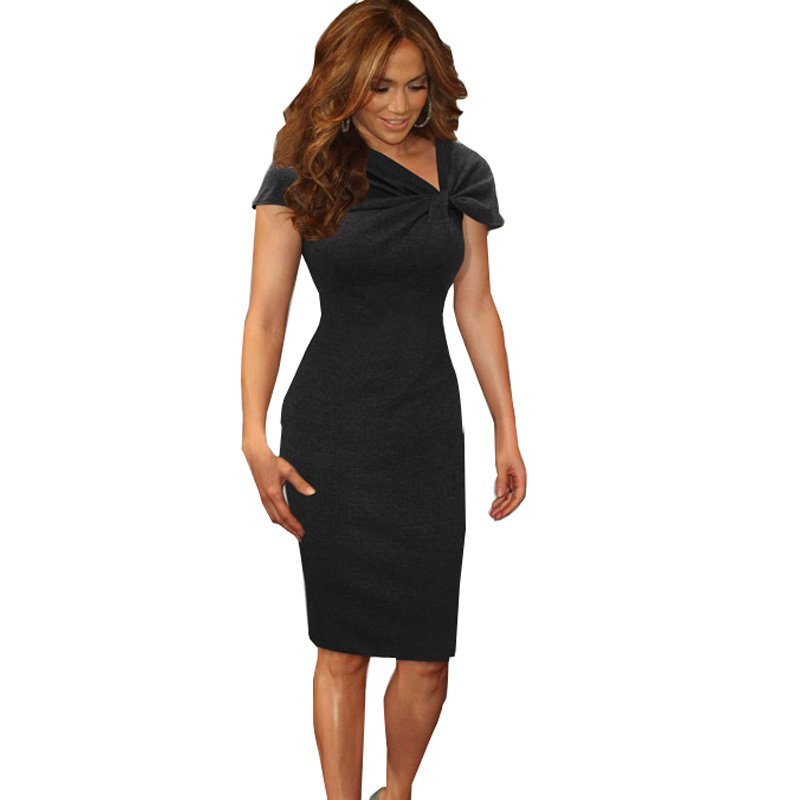 2015 Womens Elegant  Celebrity Vintage Tunic Wear To Work Evening Party Mermaid Bodycon Dress Pencil Wiggle Dress #8(China (Mainland))