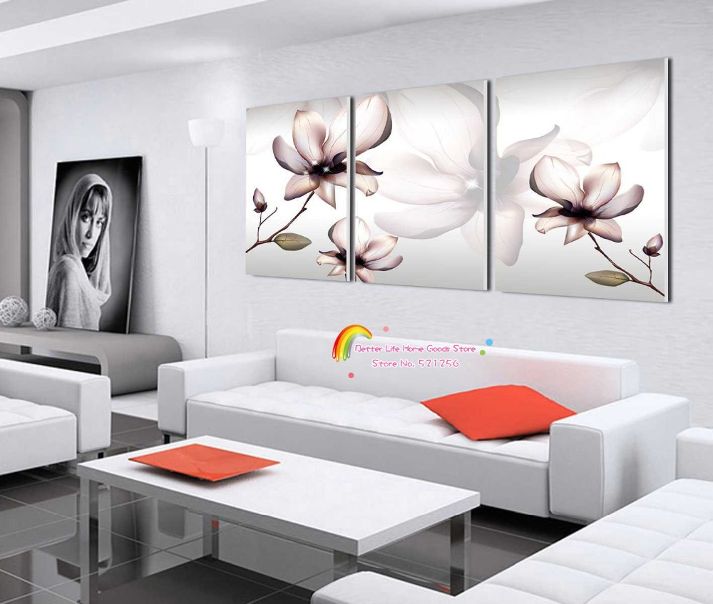 Modern Wall Art Home Decoration Printed Oil Painting Pictures No Frame 3 Panel Abstract Transparent Flower Living Room Prints(China (Mainland))