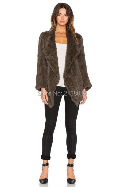 FC018 Женщины Теплая Зима Включите Воротник Куртки Трикотажные Натурального Меха Кролика пальто