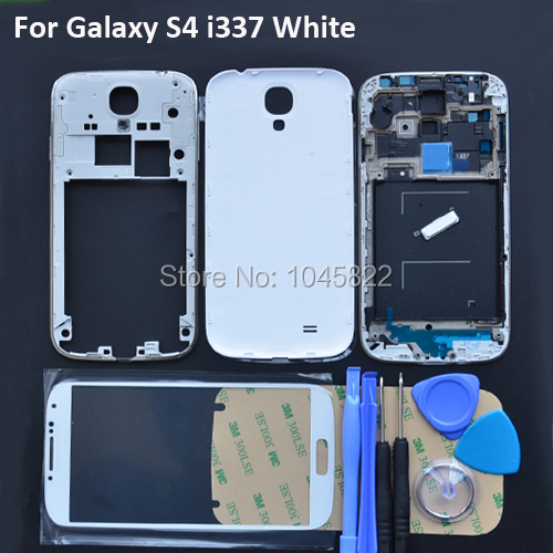 Original Full Housing Cover + Front Glass Screen For Samsung Galaxy S4 i337 White Complete Housing Middle Frame Replacement(China (Mainland))