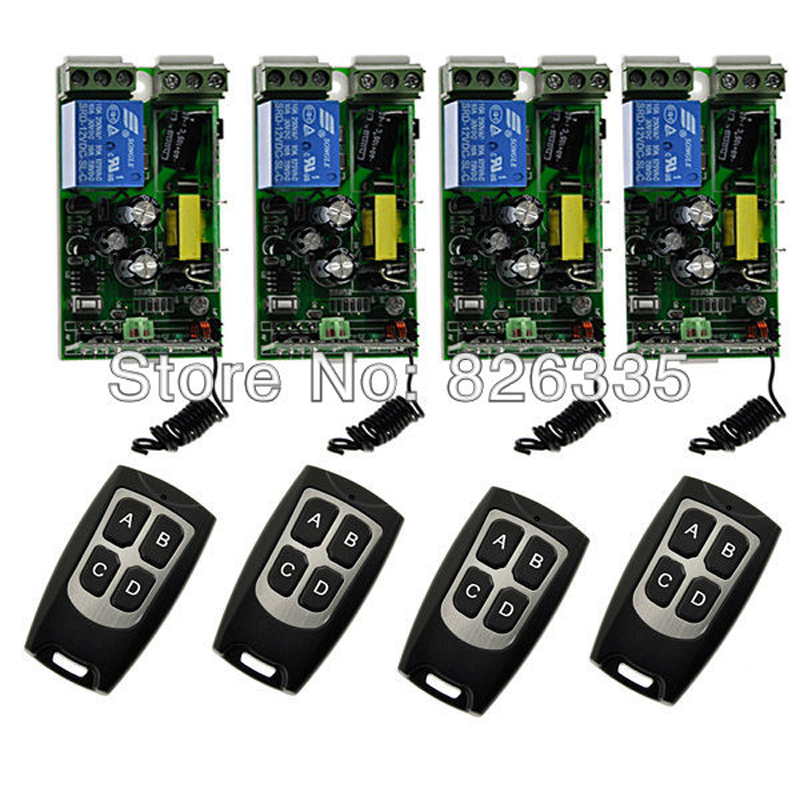 220V 10A  RF Wireless Remote Control Switch 4pcs Receivers with 4pcs 4-Button Transmitters for Security<br><br>Aliexpress