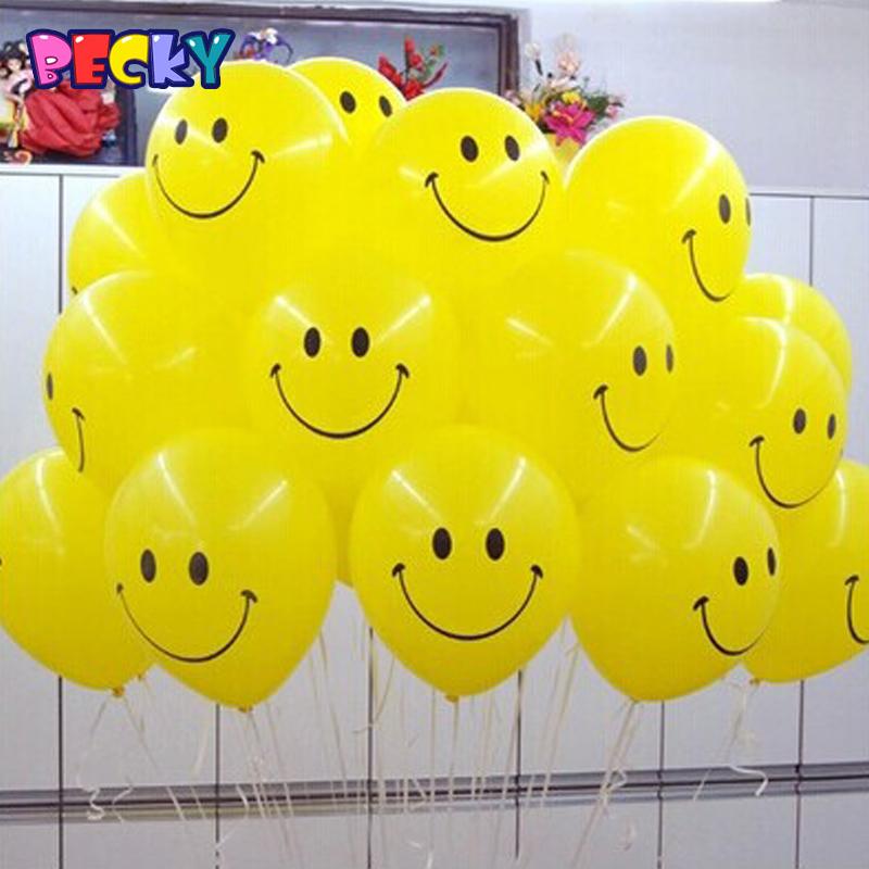 Becky 10pcs/Lot 12inch 2.8g/Pc Latex Helium Ball Ballon Wedding Globos Party Birthday Smile Pattern Balloon Kids Toys(China (Mainland))