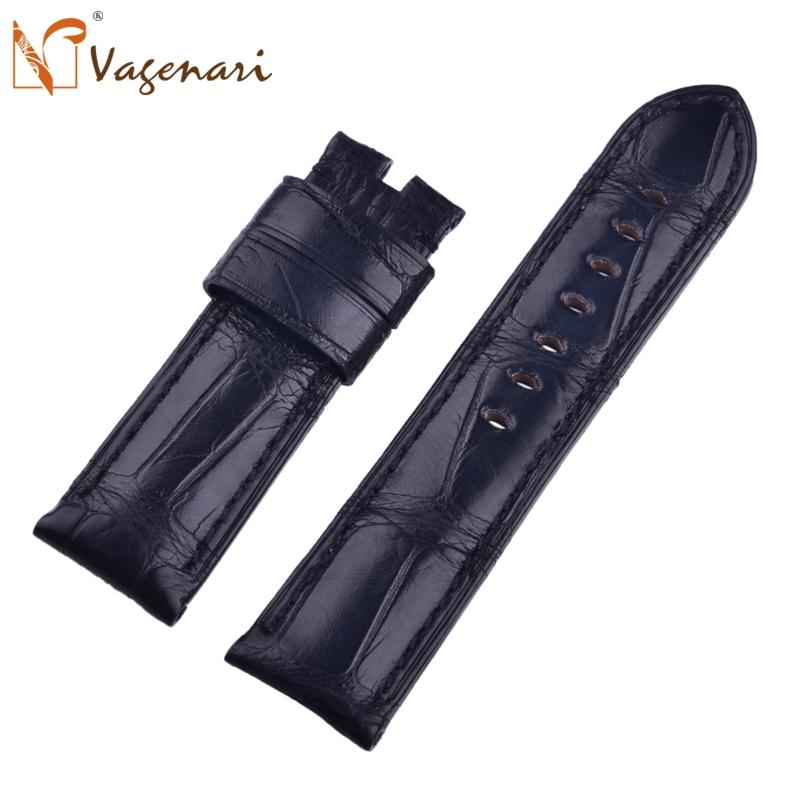 A015 Watchband 24mm South America Alligator Genuine Leather Strap 100% Hand Stitch Watch Strap For Panerai