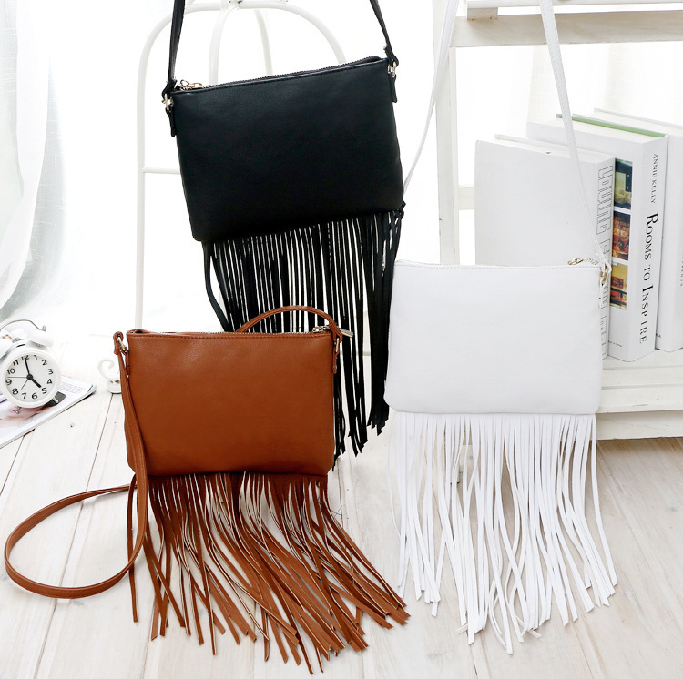 "Black white brown women small long tassel handbags 16 23cm 2015 fashion H brand messenger bags for women""s PU leather simple(China (Mainland))"