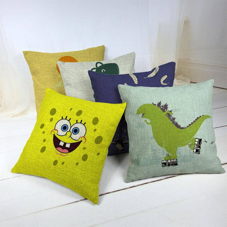 Hot Sale Thick and Thin Cotton Linen Decor Pillow New Home Fashion Gift 45cm Retro Cartoon Designs Office Nap Sofa Cushion