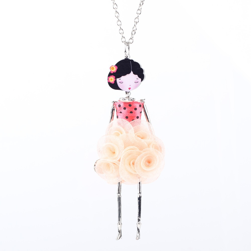 Bonsny French Doll Necklace Dress Flower Long Chain Alloy Pendant Fashion Jewelry For Women 2015 News Style Designs Accessories(China (Mainland))