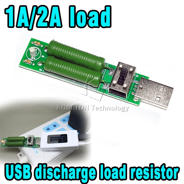 LCD Digital Voltmeter USB Current Voltage Meter Battery Charger Tester Detector + 1A/2A Mini Discharge Load Resistor Kit(China (Mainland))
