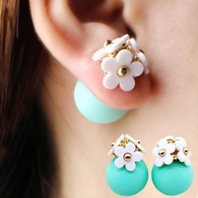 Fashion simulated pearl ball Earrings flower hiphop korea two side Jewelry Double side Stud Earring white statement For Women(China (Mainland))