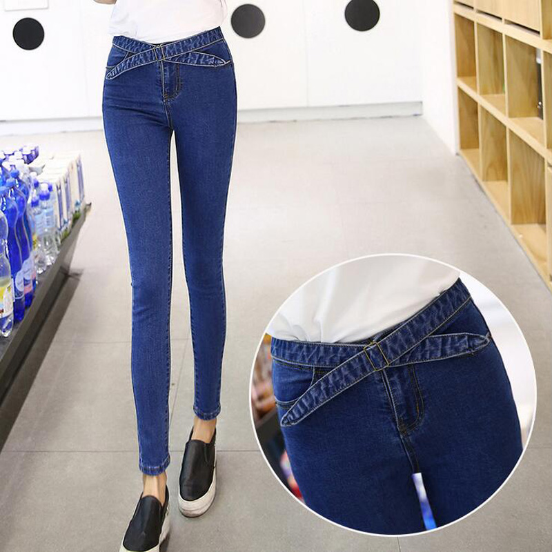 Women Jeans,2016 Spring Summer Show Skinny Denim Pencil Pants High Waist Elastic  Personality Tide LaceJeans Plus Size Trousers