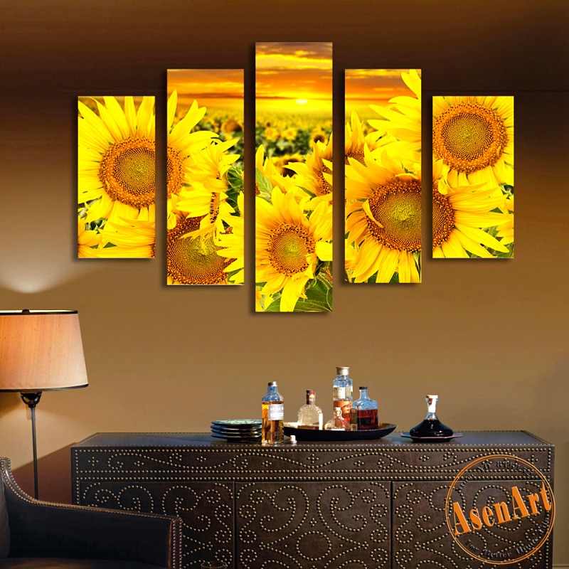 Online get cheap sunflowers oil paintings for Cheap canvas paintings for sale