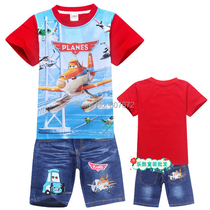 Free shipping 2015 new dusty planes h children's summer clothing sets m 100% cotton boys short-sleeve T-shirt jeans set nova(China (Mainland))
