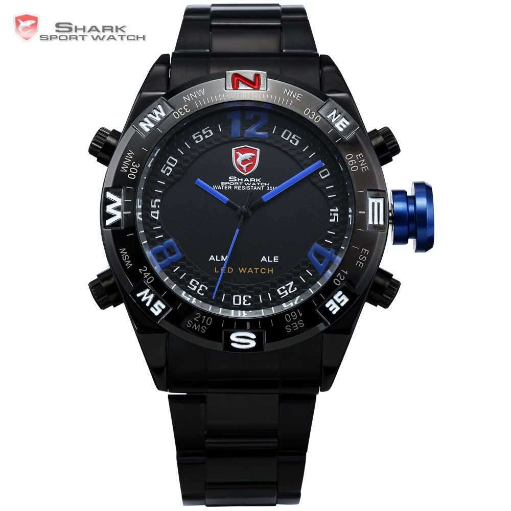 Bullhead SHARK Sport Watch Men Black Stainless Steel Band Digital LED Date Alarm Blue Water Resistance Quartz Wristwatch /SH100(China (Mainland))