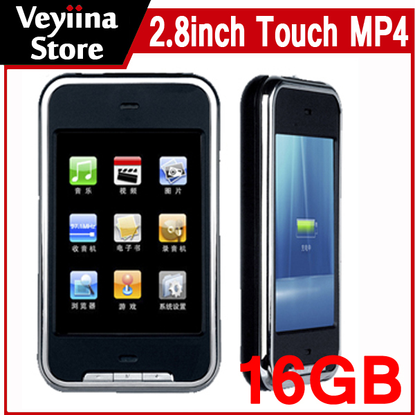 With Camera 2.8 inch Touch Screen MP4 Player 16GB MP5 Player Mp4 Music Player 16G 16gb With FM Radio+Speaker+Camera+Earphone(China (Mainland))