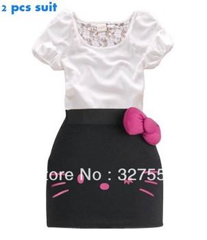 2013 children's cute design summer clothing kids t shirt top + hello kitty girls 2 pcs set hello kitty dress GQT-186