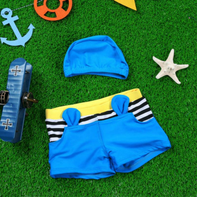 Hot Selling Summer boys swim trunks baby swimwear Kids Swimsuit boys swimwear with swimming cap free shipping child swim shorts(China (Mainland))