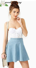 Fashion fresh street fashion solid color denim high waist ruffle bust skirt short skirt d128