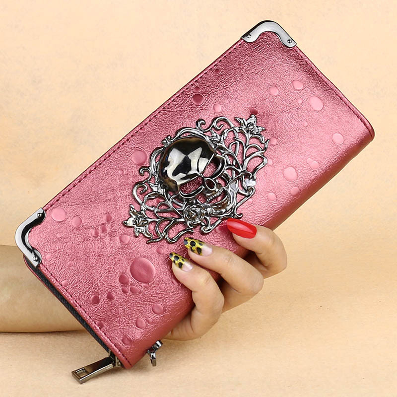 Fashion Women Wallets Lady Purse Punk Hollow Out Stereo Skull Zipper Coin Purse Handbags Cards Holder Burse Moneybag Casual Bags(China (Mainland))