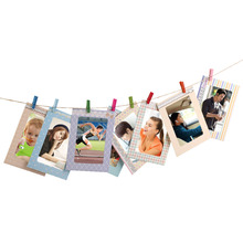 2017 Creative Home 8Pcs 6 inch Rectangle Paper Photo Frame With Wood Clips Wall Picture Album DIY Hanging Rope Frame Home Decer(China (Mainland))